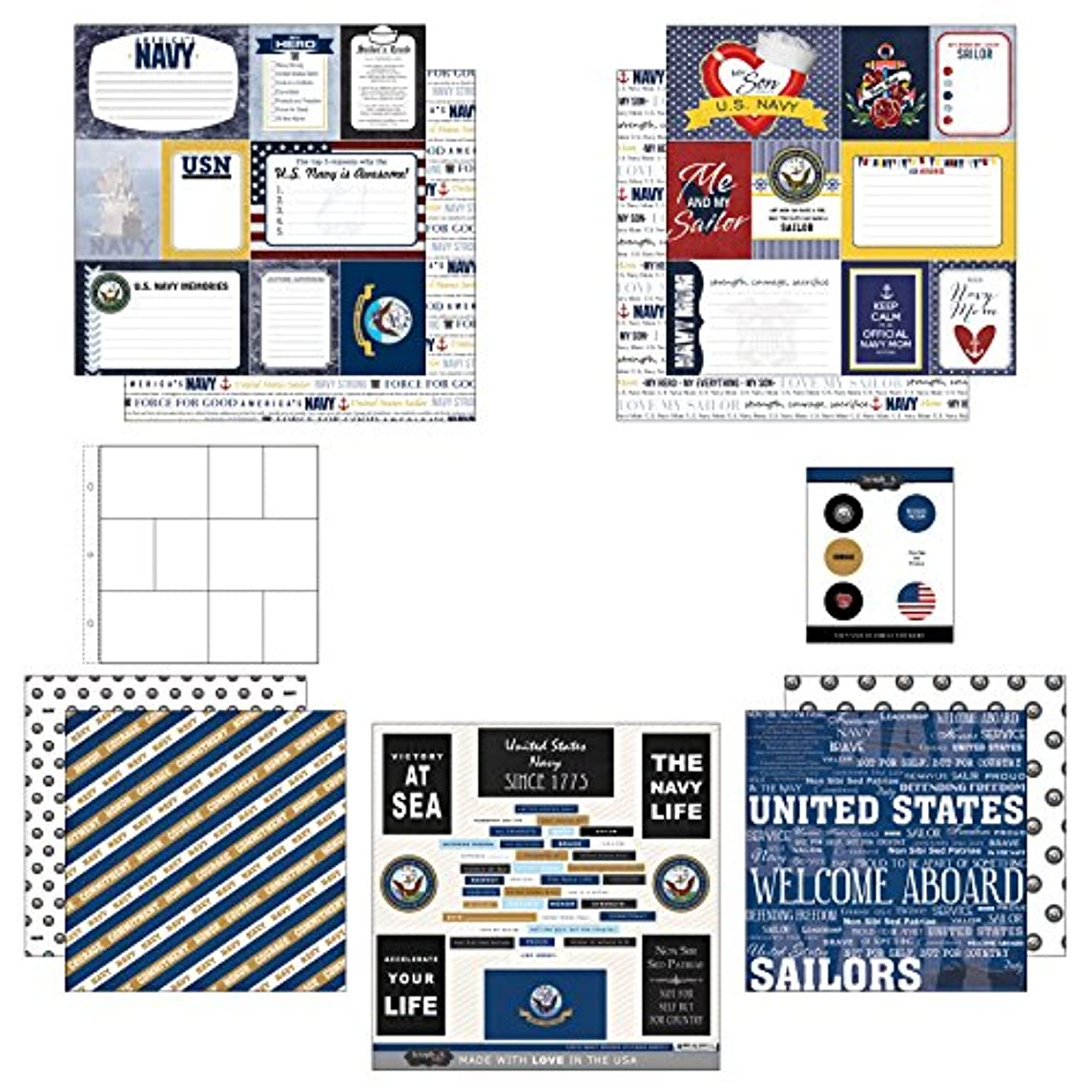Scrapbook Customs Themed Paper and Stickers Scrapbook Kit, Navy Mom Journal