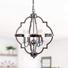 Zicbol Farmhouse Chandelier 4-Light Candle Style Metal Vintage Pendant Light Rustic Chandelier Lighting Fixture for Dining...
