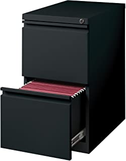 "Hirsh Industries 20"" Deep File/File Mobile Pedestal, Black, 18578"