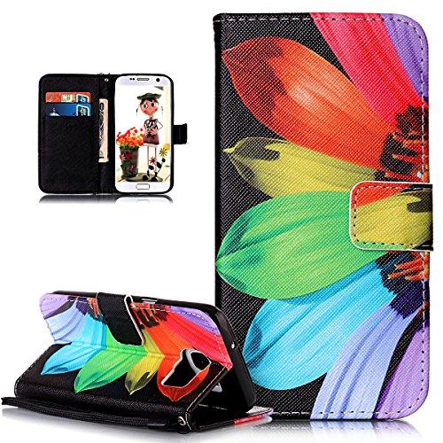 ikasus Coque Galaxy S7 Etui Motif Peint Dragonne design fermeture glissière Cuir PU Housse Etui Coque Portefeuille supporter Flip Case Etui Housse Coque pour Galaxy S7,Tourteau coloré