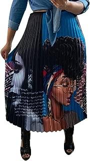 Women Color Block Graffiti Letter Print A Line Maxi Long Party Skirt