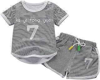 ESHOO Baby Boys Summer Outfits Short Sleeve T-Shirt & Short Pants Toddler Stripe Shorts Set 0-5 Years