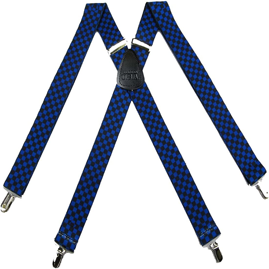 Mens Dressy Fashion Checkered Clip Suspender Made in the USA