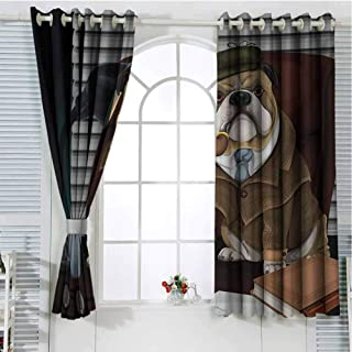 English Bulldog Room Darkening Curtains for Bedroom Traditional English Detective Dog with a Pipe and Hat Sherlock Holmes Image Pattern Curtains Long W107 x L96 Inch Multicolor