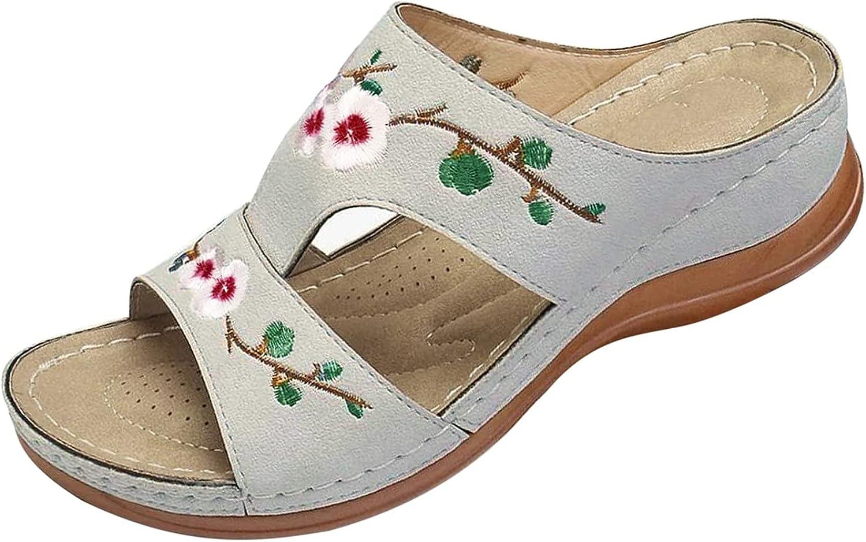 haoricu Women's Sandals Bohemian Open Toe Casual Beach Shoes Wedges Slippers Summer Beach Travel Slippers