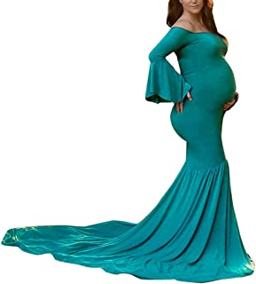 Maternity Dress Off Shoulder Ruffle Sleeve Photo Prop Mermaid Gown with Long Train for Pregnant Photography
