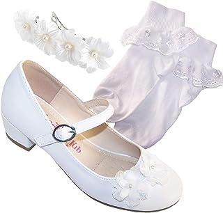 Juego de calcetines de comunión para niñas y niños, de tacón bajo, para bodas, damas de honor y primera comunión
