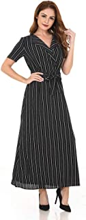 Striped Button Down Swing Midi Dresses Solid V-Neck Tie Waist Sleeveless Spaghetti Floral Dresses