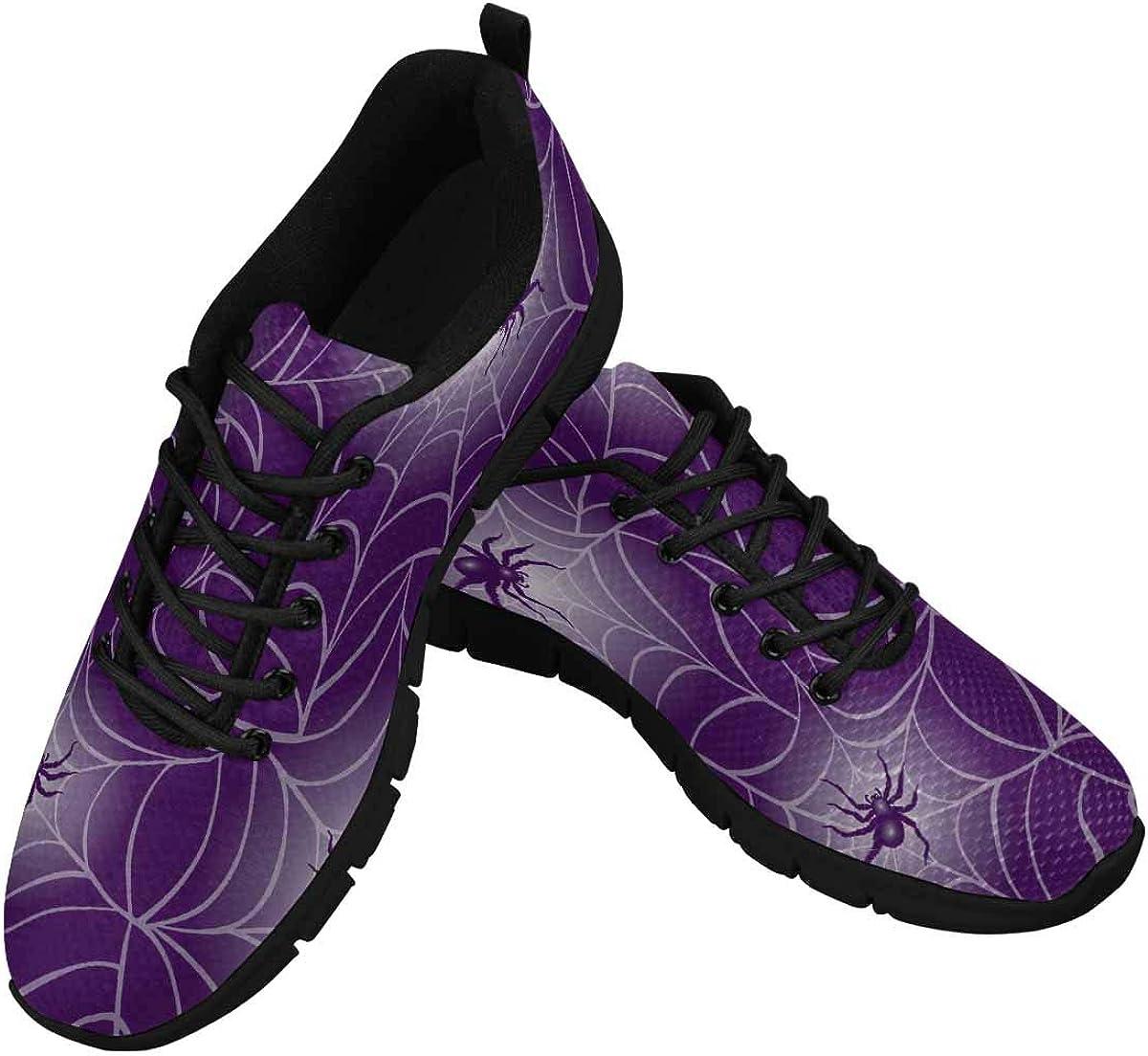 INTERESTPRINT Halloween Spider Women's Athletic Walking Shoes Breathe Comfort Mesh