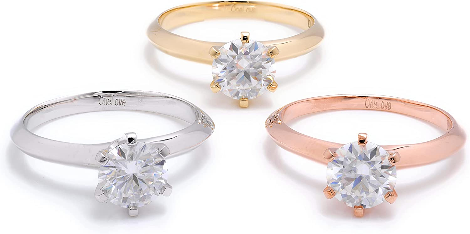1 Carats Genuine D VVS1 Moissanite Round Cut Diamond Solitaire Engagement Ring 10K Solid Gold (yellow, rose, white gold, size 5-8)
