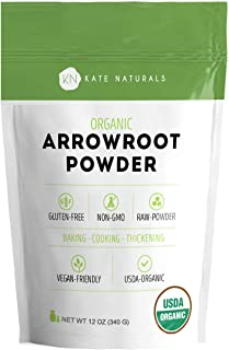 Arrowroot Flour Organic - Kate Naturals. Baking, Cooking, Thickening Sauces & Gravy. DIY Shampoo, Deodorant. Resealable Bag. Gluten-Free & Non-GMO. 1-Year Guarantee (12 oz)