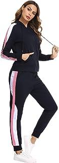 Hawiton Conjunto de chándal para Mujer de algodón Invierno, Conjunto de Sudadera Mujer Larga con Chaqueta y Pantalon para ...