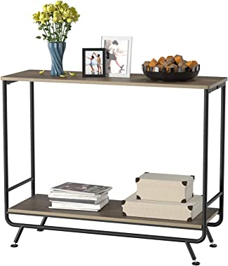 HOMECHO Farmhouse Industrial Console Table, 2-Tier Vintage Sofa Console Hallway Entryway Table with Storage Shelf, Sturdy Met