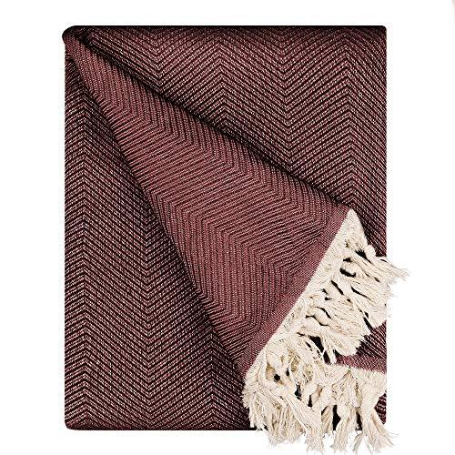 BOHORIA® Premium Tagesdecke Tulum - Bettüberwurf Wohndecke Wendedecke Kuscheldecke Sofadecke mit Muster | extra-groß 170 x 230 cm (Mahogany)