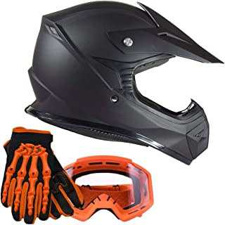 Typhoon Youth Kids Offroad Helmet Gloves Goggles GEAR COMBO - Orange, Matte Black (large)