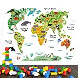 WandSticker4U®- Wandtattoo WELTKARTE Kinder I Wandbilder: 100x80 cm I Wandaufkleber Landkarte bunt Tiere Kontinente Ozean World Map Atlas Geographie Erdkunde I Deko für Kinderzimmer Jungenzimmer GROSS