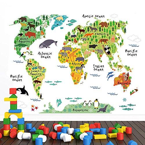 WandSticker4U- Wandtattoo WELTKARTE Kinder I Wandbilder: 100x80 cm I Wandaufkleber Landkarte bunt Tiere Kontinente Ozean World Map Atlas Geographie Erdkunde I Deko für Kinderzimmer Jungenzimmer GROSS