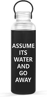 Artoid Mode 17oz Motivational Leak-Proof Borosilicate Glass Water Bottle, Non-Slip Silicone Sleeve BPA Free