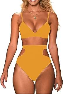 Women's 2 Pieces Bikini Top High Waist Cutout Bottom Swimsuits