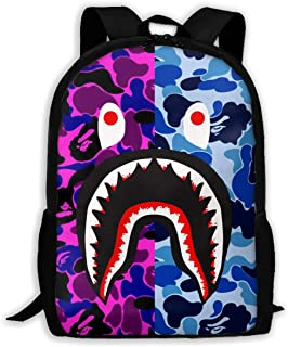 Bape Blood Shark Purple Blue Camo Backpack College School Travel Bags Waterproof Shoulder Backpacks for Men Women
