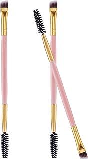 Frienda 3 Pack Eye Brow Brush Eyebrow Spoolie Double Handle Angled and Eyebrow Comb for Application of Brow Powders Waxes ...