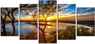 Nachic Wall- 5 Piece Canvas Wall Art Sunset on Lake Travis Texas Picture Photo on Canvas Nature Landscape Art for Home Living Room Decor Stretched and Framed Ready to Hang