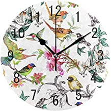 ChongXiFuShi Tropical Summer Flower Bird Exotic Round Wood Wall Clock for Home Decor Living Room Kitchen Bedroom Office School