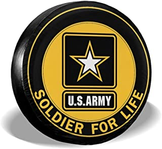 Wangws01 US Army Soldier for Life Polyester Universal Dust-Proof Spare Wheel Tire Cover Fit for Jeep, SUV, RV, Camper, Truck Trailer and Many Vehicles 14 15 16 17 Inch
