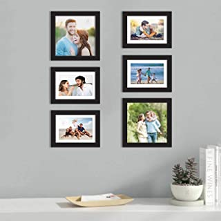 Art Street Set of 6 Black Wall Photo Frame, Picture Frame for Home Decor with Free Hanging Accessories (Size -6x8, 8x8 Inchs)