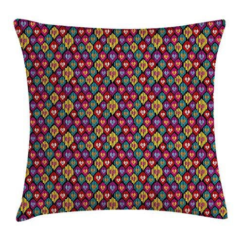 Butlerame Ikat Throw Pillow Cover, Colorido patrón étnico con Formas de corazón y líneas, Motivos Bohemios asiáticos de Kazajstán, 45 x 45 cm, Multicolor