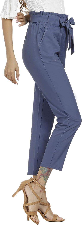 Freeprance Womens Pants Casual Trouser Paper Bag Pants Elastic Waist Slim Pockets