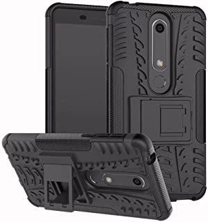 Case for Nokia 6 (2018)/Nokia 6.1 Smartphone Protective Cover Cases Rugged Impact Armor Hybrid Shell Dual-Layer Detachable Hard PC + Soft Silicone Shockproof with Stand Phone Support Function - Black