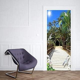 3D Porte Autocollant Sticker Porte Porte Autocollant Summer Resort Pont En Bois Chambre Décoration Accessoires Sticker Mur...