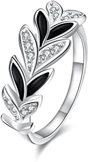 Romantic Fate Fashion Crystal Silver Stoving Varnish White and Black Collocation Leaf Shape Ring