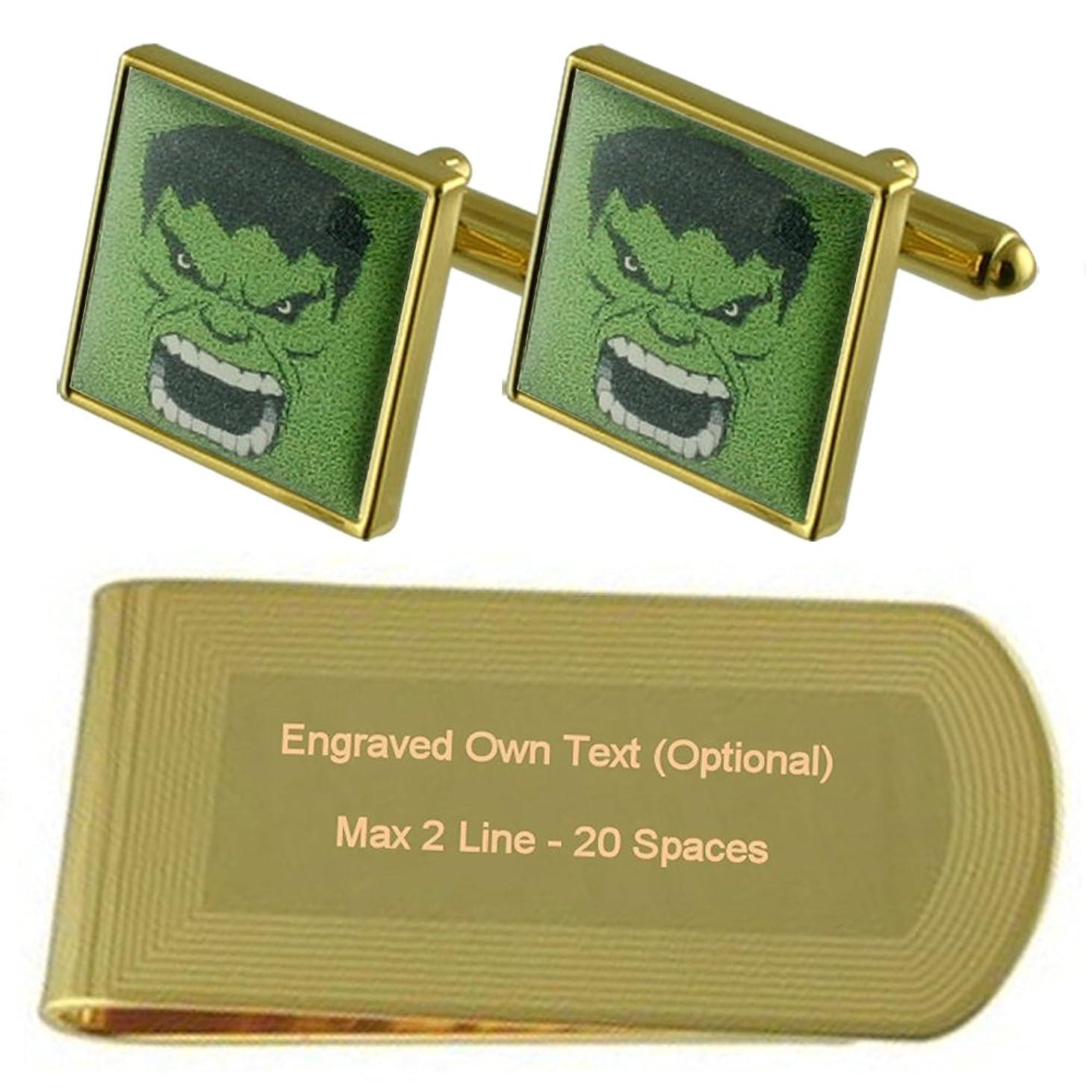 間妻デジタル緑の超人ハルクのゴールド?トーン カフスボタン お金クリップを刻まれたギフトセット