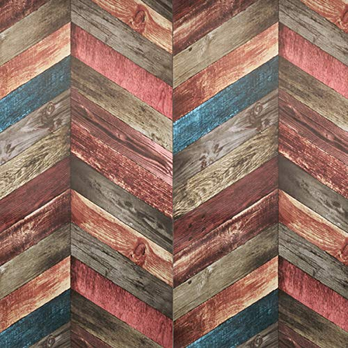 "Chevron Wood Wallpaper - Peel and Stick Wallpaper - Backsplash Peel Stick Prepasted Wall Paper or Adhesive Shelf Paper - Vintage Multicolored Wood Panel Wallpaper (17.71"" Wide x 118"" Long)"