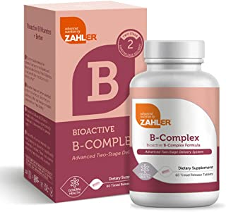 Zahler B Complex, B vitamin complex with all 8 bioactive vitamins B, two-stage delivery system time release, Kosher certif...