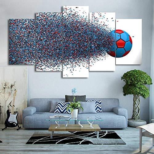 Lienzo 5 Piezas Balón de fútbol Splash Color enmarcado Lienzos Decorativos Cuadros Grandes Baratos Cuadros Decoracion Cuadros Para Dormitorios Modernos Cuadros Decoracion Regalos Personalizados