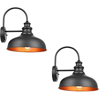 Bestshared Farmhouse Wall Mount Lights, Gooseneck Barn Light, 2 Pack Outdoor Wall Lantern for Porch in Black Finish with Contrast Color Interior