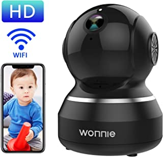 WONNIE Wireless Camera, 1080P HD Security Monitor 2.4G WiFi IP Camera Motion Detection Night Vision for Baby/Elder/Pet, Two-Way Audio Cloud Service Available Webcam Black