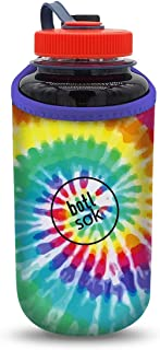 Java Sok Reusable Bottle Sleeve 32oz Insulated Bottle Holder for Cold Drinks, Nalgene, HydroFlask, Yeti, and More (Tie-Dye Rainbow, 32oz)