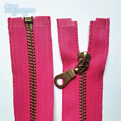 Cremallera de extremo abierto de metal de latón 2 piezas 5# 30-60cm (12-24 pulgadas) Cremallera de costura (20 colores) -rosa rojo, 2 piezas, 50cm