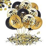 APERIL 40 Anni Palloncini Compleanno Oro Nero Palloncini di Coriandoli e 20g 40°Compleanno Coriandoli, Decorazioni per Feste per Adulti Uomo Donna Anniversario Matrimonio