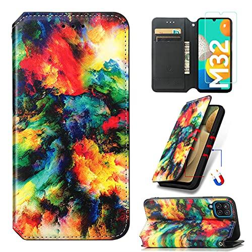 Abuenora Funda para Samsung Galaxy M32 + Protector de Pantalla Cristal Templado, Carcasa Libro con Tapa Flip Case Antigolpes Cuero Polipiel Dibujo Nubes de Colores