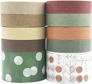 10 Rolls Vintage Washi Tape Set, EnYan Japanese Masking Decorative Tapes for DIY Crafts and Arts Bullet Journal Planners Scrapbooking Adhesive