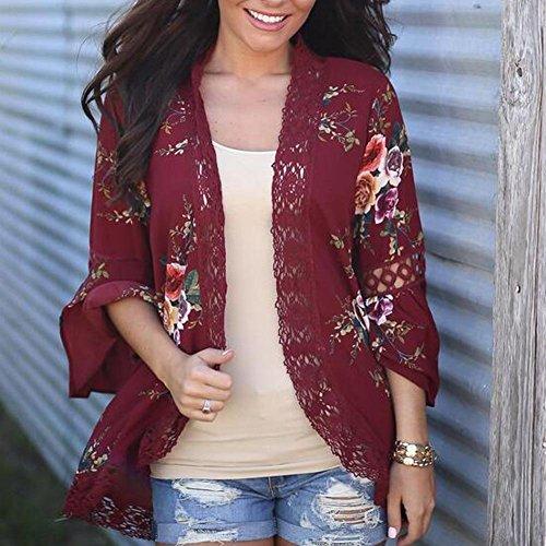 GWCSS Ladies Cardigan Sweater / Lace Print Ladies Jacket , Wine Red , M