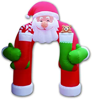 GOOSH 11 Feet Christmas Inflatable Santa Claus Archway Arch with Teddy Sugar Cane Cute Lights Lighted Blow-up Holiday Decoration for Outdoor Indoor Home Garden Family Prop Yard