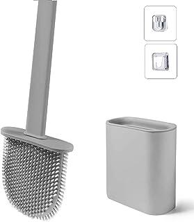 Brosse de Toilette avec Support, Brosse WC Silicone Flexible, Brosse de Toilettes à Séchage Rapide et Récipient pour Salle...
