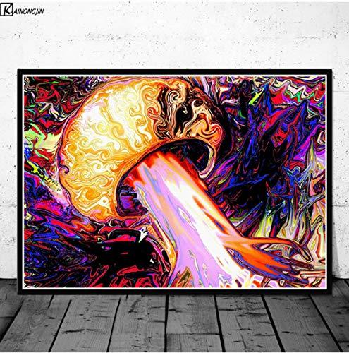 LGXINGLIyidian Poster Und Drucke Magic Mushroom Blacklight Psychedelic Poster Trippy Leinwand Gemälde Wandkunst Bild Wohnzimmer Home Decor Y955 50X70Cm