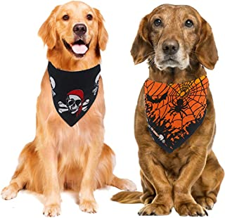 Orgrimmar 2 PCS Halloween Dog Bandana Pets Pumpkin Bib Scarf Adjustable Triangle Cat Bandana for Small, Medium and Large Pets (Black and Purple)